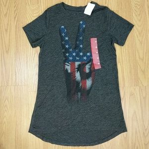 Nwt American flag peace sign grey t shirt